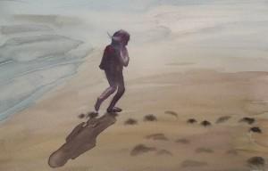 Watercolour: Girl on the beach