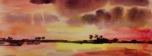 Kerala Sunset watercolour